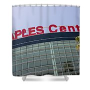 Staples Center Sign In Los Angeles California Shower Curtain by Paul Velgos