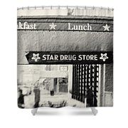 Star Drug Store Marquee Shower Curtain by Scott Pellegrin