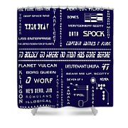 Star Trek Remembered in Navy Blue Shower Curtain by Nomad Art And  Design