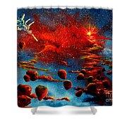 Starberry Nova Alien Excape Shower Curtain by Murphy Elliott