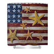 Starfish On American Flag Shower Curtain by Garry Gay