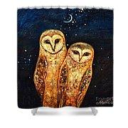 Starlight Owls Shower Curtain by Shijun Munns