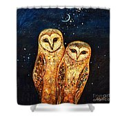 Starlight Owls Shower Curtain by Shijun Munns
