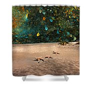 Starry Beach Night Shower Curtain by Betsy C  Knapp