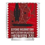 Starschips 02-poststamp - Battlestar Galactica Shower Curtain by Chungkong Art