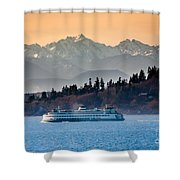 State Ferry And The Olympics Shower Curtain by Inge Johnsson
