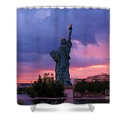Statue Of Liberty In Paris Shower Curtain by John Malone