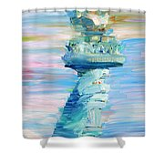 STATUE OF LIBERTY - THE TORCH Shower Curtain by Fabrizio Cassetta