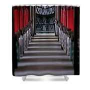 Steam Engine Pushing Shower Curtain by Trever Miller