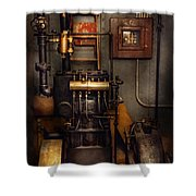 Steampunk - Back In The Engine Room Shower Curtain by Mike Savad