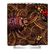 Steampunk - Insect - Itsy Bitsy Spiders Shower Curtain by Mike Savad