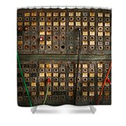 Steampunk - Phones - The Old Switch Board Shower Curtain by Mike Savad