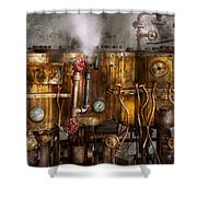 Steampunk - Plumbing - Distilation apparatus  Shower Curtain by Mike Savad