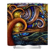 Steampunk - Starry Night Shower Curtain by Mike Savad