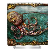 Steampunk - The Tale Of The Kraken Shower Curtain by Mike Savad
