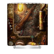 Steampunk - Victorian fuse box Shower Curtain by Mike Savad