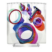 Steel Gears Shower Curtain by Erich Schrempp