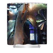 Steel Knight Shower Curtain by Ayse Deniz
