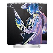 Stefan Lessard Colorful Full Band Series Shower Curtain by Joshua Morton