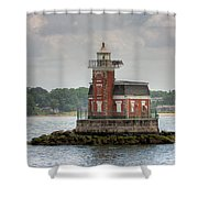 Stepping Stones Lighthouse I Shower Curtain by Clarence Holmes
