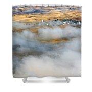 Steptoe Fog Clearing Shower Curtain by Mike  Dawson