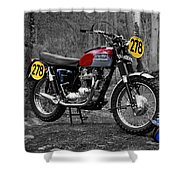Steve Mcqueen Isdt 1964 Shower Curtain by Mark Rogan