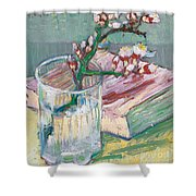 Still Life    A Flowering Almond Branch Shower Curtain by Vincent Van Gogh