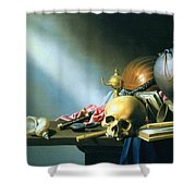 Still Life An Allegory Of The Vanities Of Human Life Shower Curtain by Harmen van Steenwyck