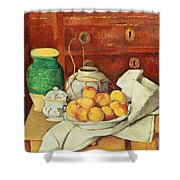 Still Life With A Chest Of Drawers Shower Curtain by Paul Cezanne