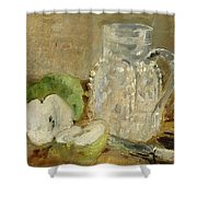 Still Life With A Cut Apple And A Pitcher Shower Curtain by Berthe Morisot