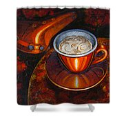 Still Life With Bicycle Saddle Shower Curtain by Mark Howard Jones