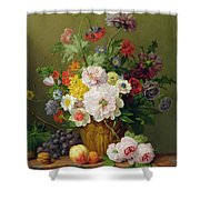 Still Life With Flowers And Fruit Shower Curtain by Anthony Obermann