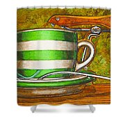 Still life with green stripes and saddle  Shower Curtain by Mark Howard Jones