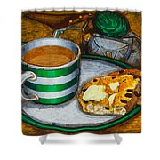 Still Life With Green Touring Bike Shower Curtain by Mark Howard Jones