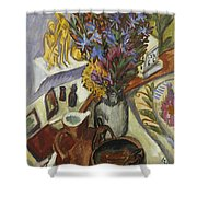 Still Life With Jug And African Bowl Shower Curtain by Ernst Ludwig Kirchner