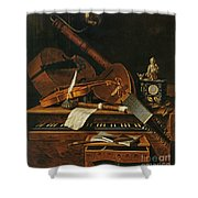 Still Life With Musical Instruments Shower Curtain by Pieter Gerritsz van Roestraten