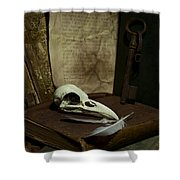 Still Life With Old Books Rusty Key Bird Skull And Feathers Shower Curtain by Jaroslaw Blaminsky