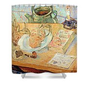 Still Life With Onions Shower Curtain by Vincent van Gogh
