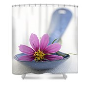 Still Life With Pink Flower On A Blue Spoon Shower Curtain by Frank Tschakert