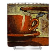 Still Life With Racing Bike Shower Curtain by Mark Howard Jones