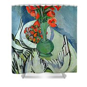 Still Life With Seagulls Poppies And Strawberries Shower Curtain by Ernst Ludwig Kirchner