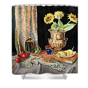 Still Life With Sunflowers Lemon Apples And Geranium  Shower Curtain by Irina Sztukowski