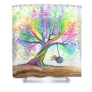 Still More Rainbow Tree Dreams Shower Curtain by Nick Gustafson