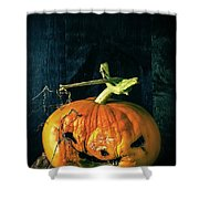 Stingy Jack - Scary Halloween Pumpkin Shower Curtain by Edward Fielding
