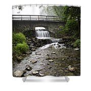 Stone Bridge Over Small Waterfall Shower Curtain by Christina Rollo