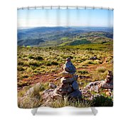 Stone Cairns Shower Curtain by Carlos Caetano