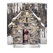 Stone Chapel In The Woods Trapp Family Lodge Stowe Vermont Shower Curtain by Edward Fielding
