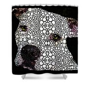 Stone Rock'd Dog By Sharon Cummings Shower Curtain by Sharon Cummings