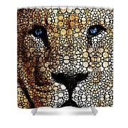 Stone Rock'd Lion 2 - Sharon Cummings Shower Curtain by Sharon Cummings