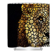 Stone Rock'd Lion - Sharon Cummings Shower Curtain by Sharon Cummings